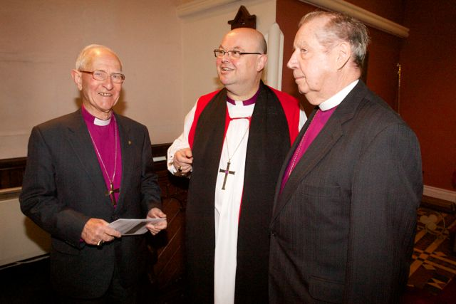 Three successive Bishops of Cork Cloyne and Ross: l-r Bishop Roy Warke (1988 to 1999); the current Bishop, Paul Colton (since 1999); and Bishop Samuel Poyntz (1978 to 1987).